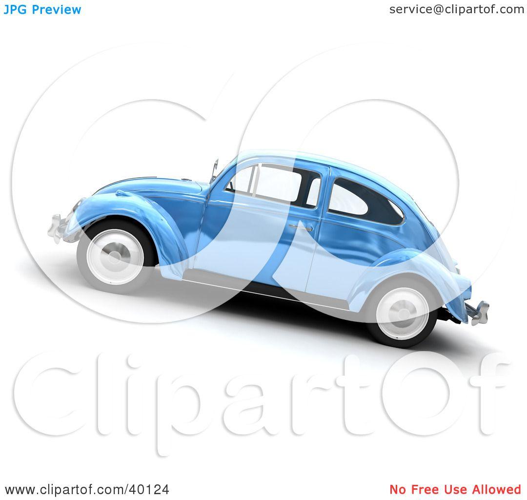 Clipart Illustration Of A Metallic Blue Slug Bug Car By Frank Boston