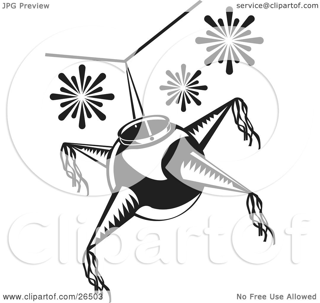 clipart illustration of a mexican pinata hanging from a ceiling at