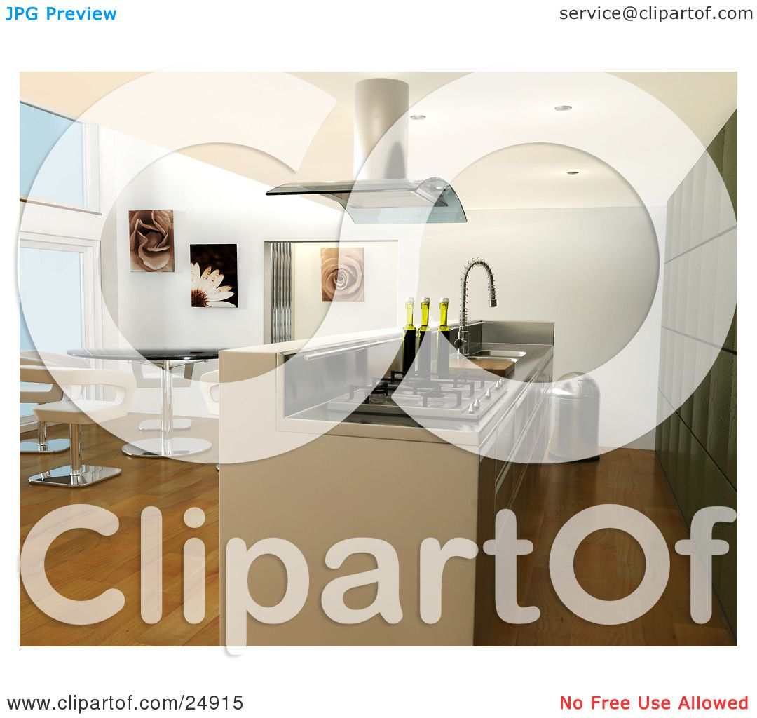 Cabinet Maker Clip Art: Clipart Illustration Of A Modern Kitchen Interior With Bar