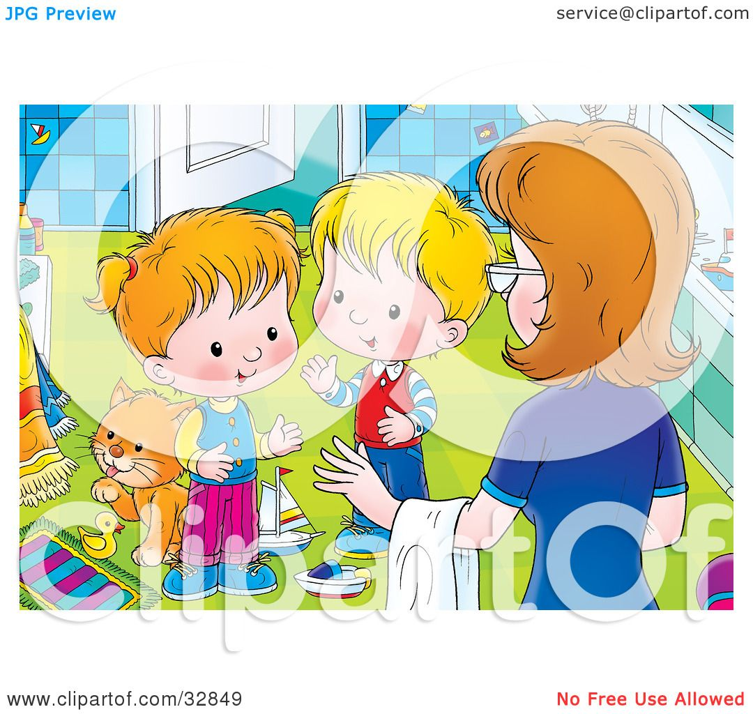 Messy Bathroom: Clipart Illustration Of A Mom Instructing Her Two Little