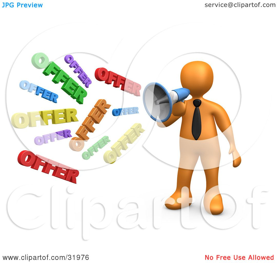Clipart Illustration of a Orange Person Shouting OFFER ...