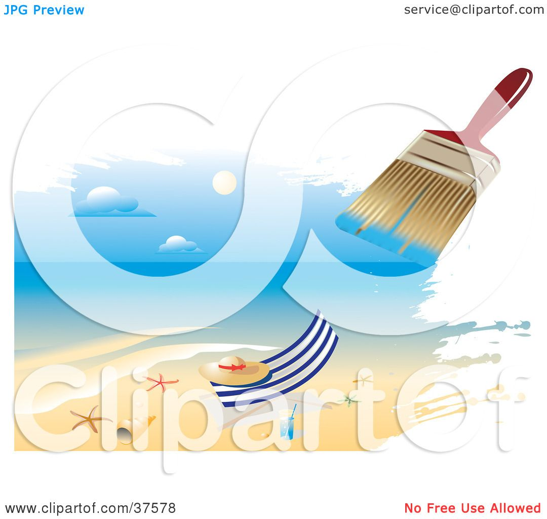 Beach Towel Clip Art: Clipart Illustration Of A Paintbrush Painting A Scene Of A