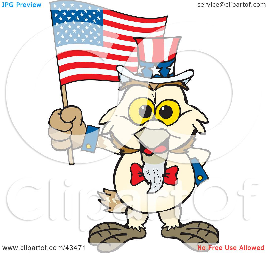 Clipart Illustration of a Patriotic Uncle Sam Barn Owl ...