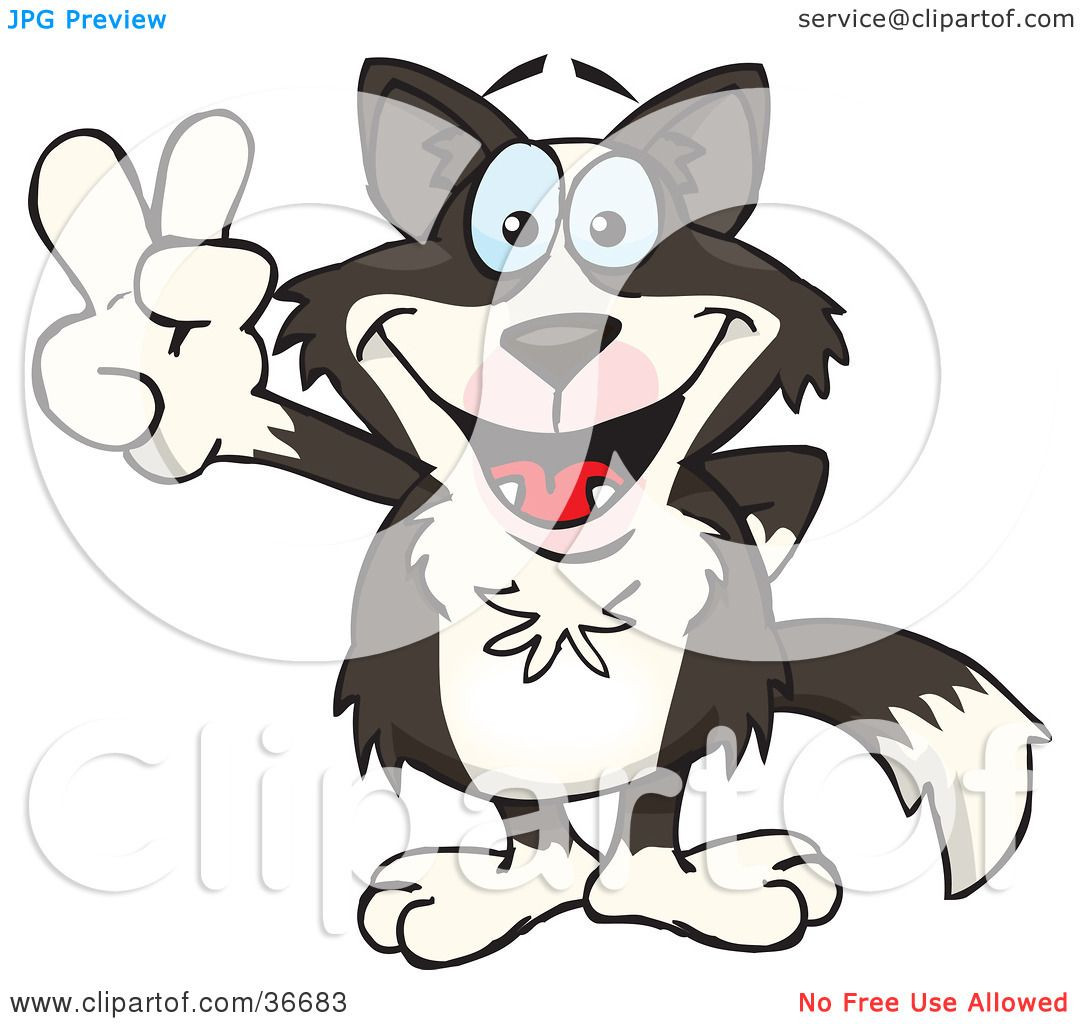 clipart illustration of a peaceful border collie dog smiling and