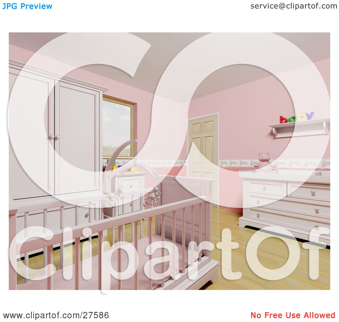 clipart illustration of a pink baby u0027s nursery room with a