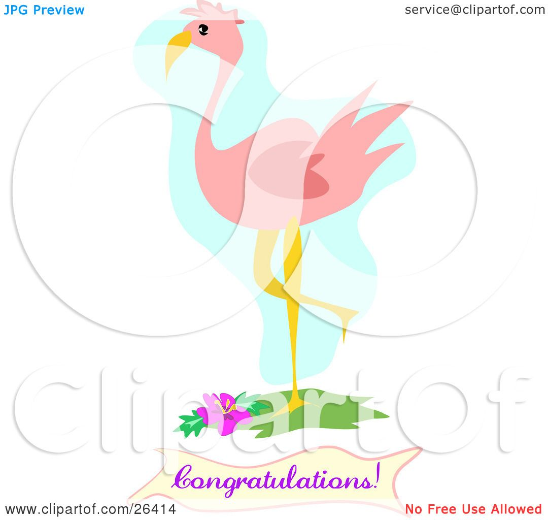 Clipart Illustration of a Pink Flamingo Bird Standing With One Leg ...