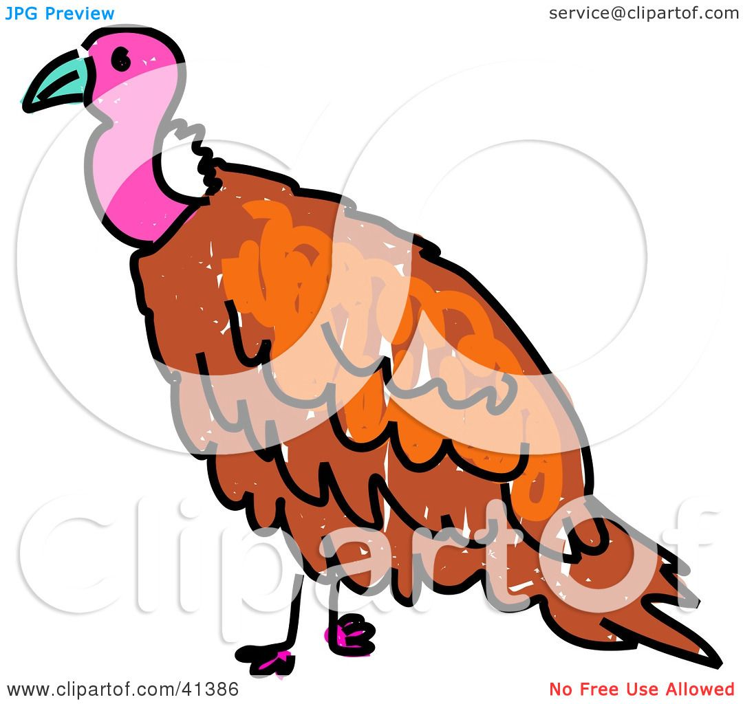Clipart Illustration of a Pink Headed Vulture by Prawny #41386
