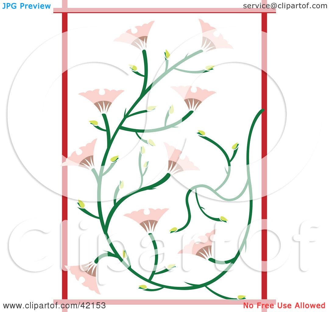 Clipart Illustration Of A Pink Japanese Flower Background With Red