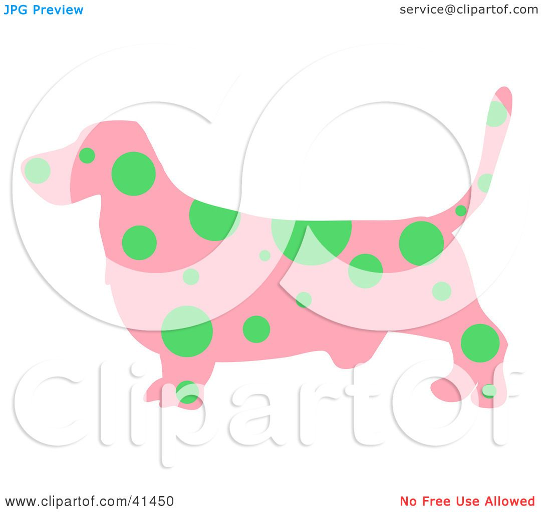Clipart Illustration of a Pink Profiled Basset Hound Dog With Green ...