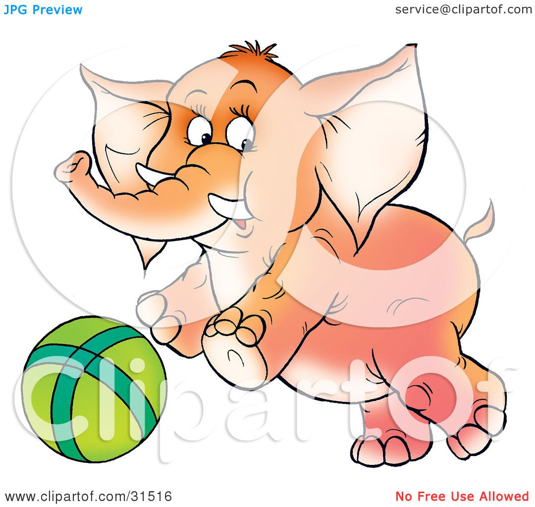 Clipart Illustration of a Playful Baby Elephant With Tusks ...