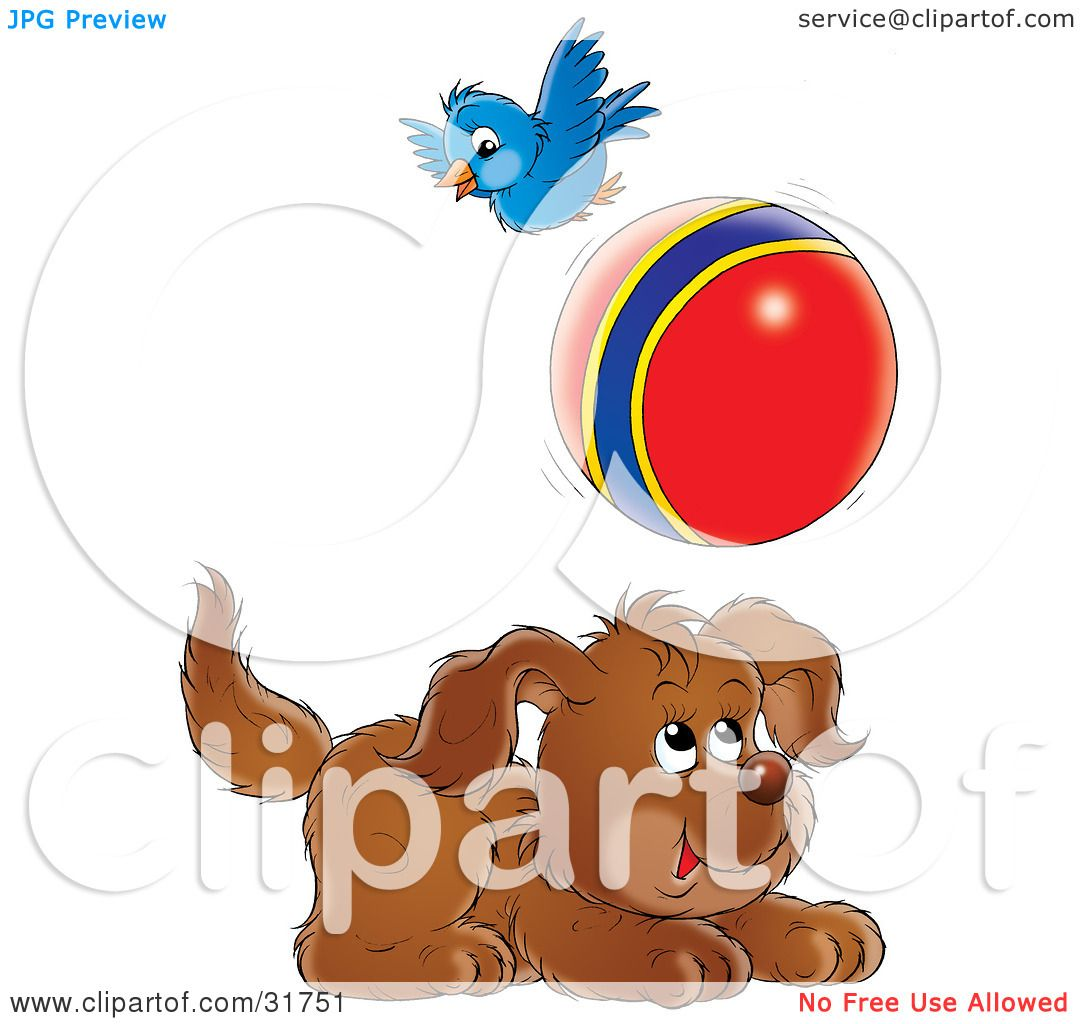 Clipart Illustration Of A Playful Puppy Chasing A Ball A