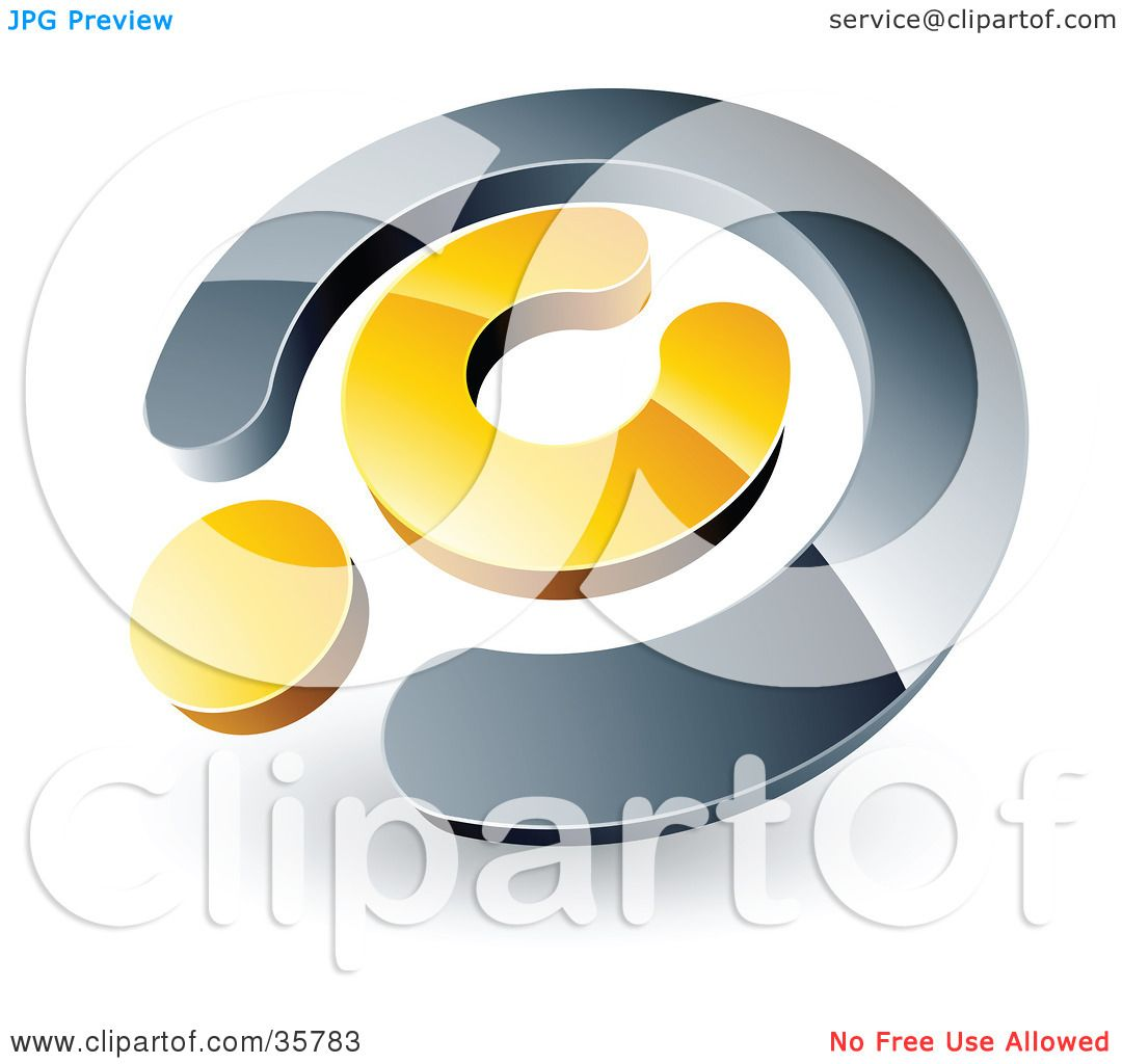 Clipart Illustration Of A Pre Made Logo Of A Chrome And Yellow