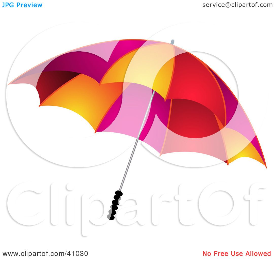 Clipart Illustration Of A Protective Red Pink And Orange