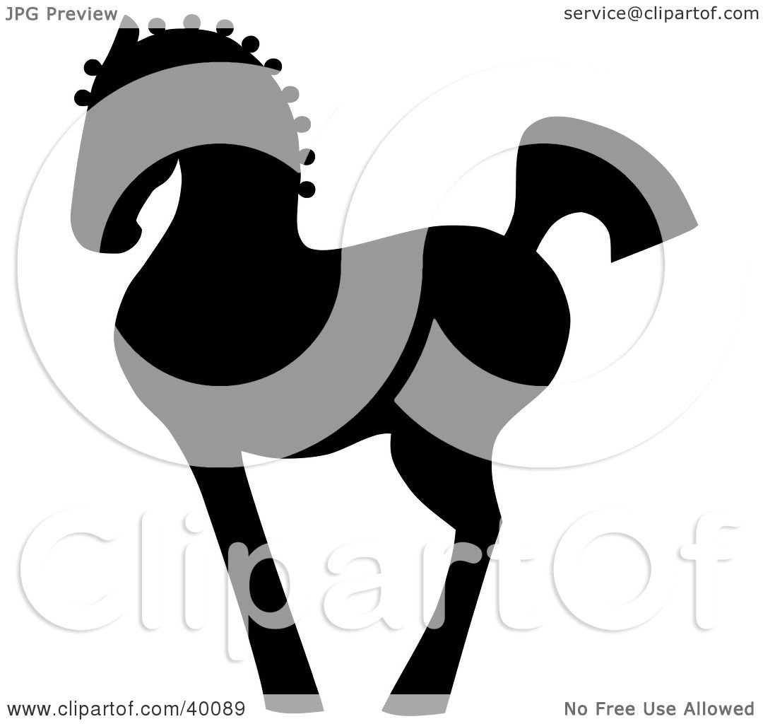 Clipart Illustration Of A Proud Black Silhouetted Oriental Horse In Profile By C Charley Franzwa