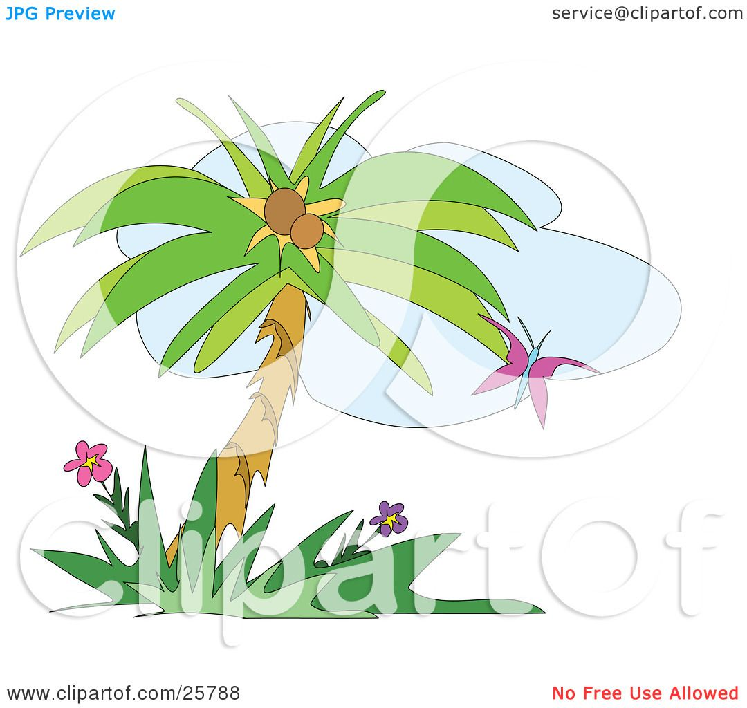 Clipart Illustration of a Purple Butterfly Fluttering Near A Coconut ...