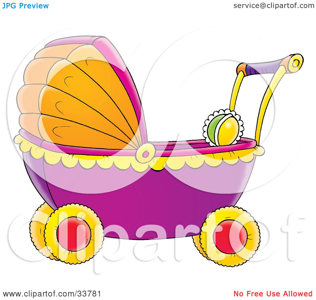Yellow Baby Stroller Clip Art Clipart illustration of a