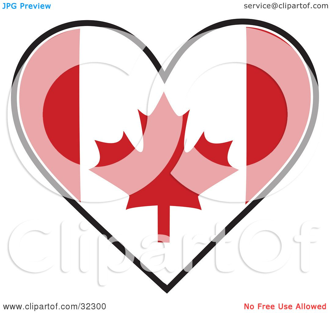 Clipart Illustration of a Red And White Maple Leaf Canadian Flag ...