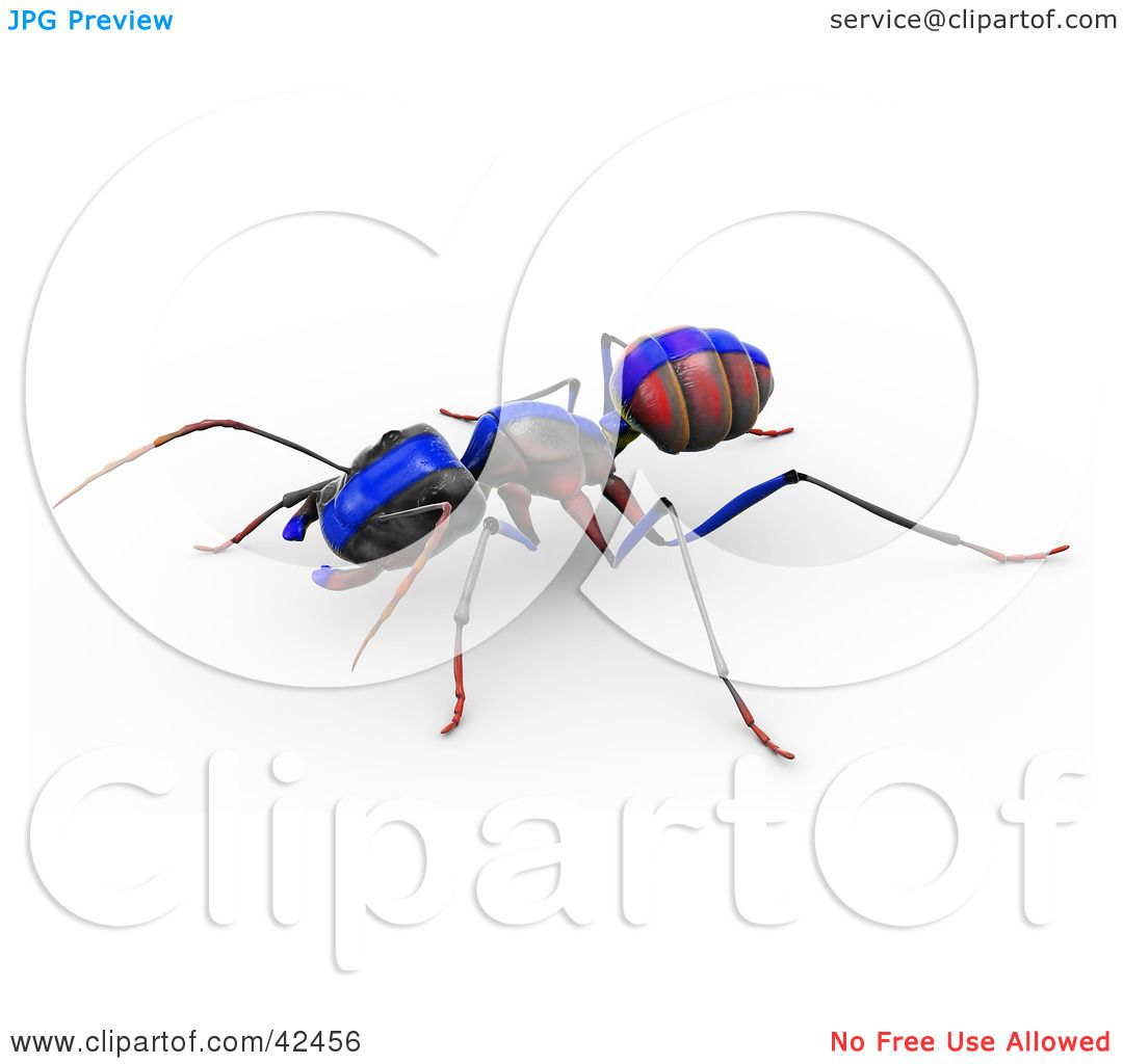 Clipart Illustration of a Red Ant With A Blue Racing ...