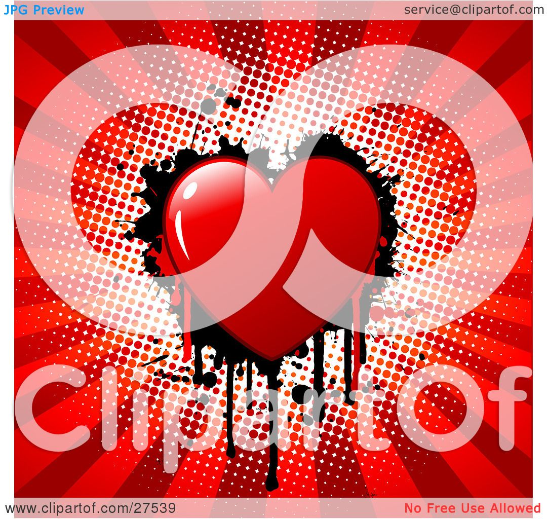 Clipart Illustration of a Red Bleeding Heart With Black ...