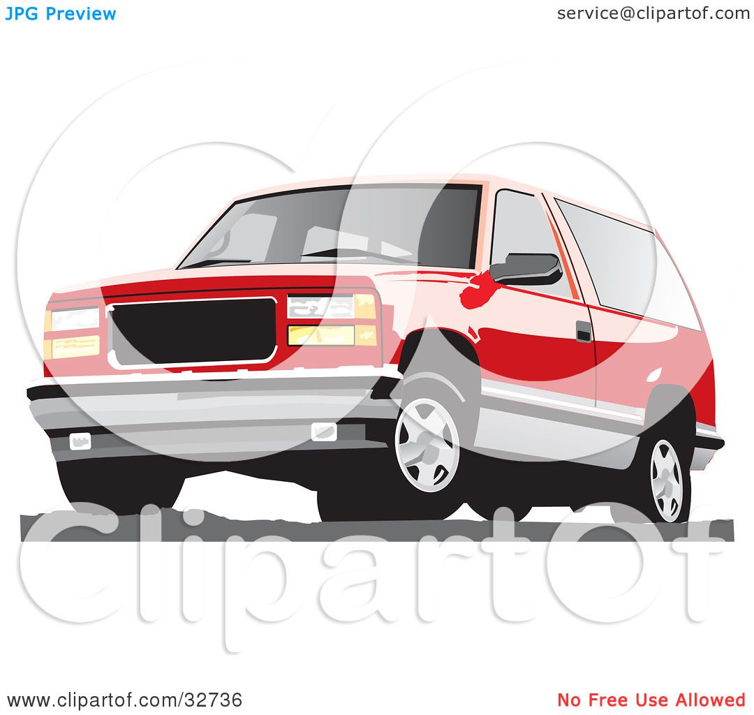 Clipart Illustration Of A Red Chevy Silverado Suv By David