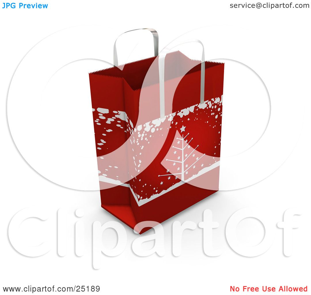 Clipart Illustration of a Red Christmas Gift Bag With A Christmas ...