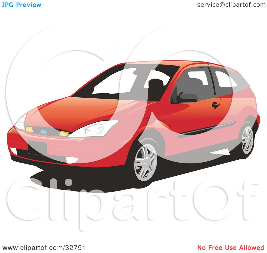 Clipart Illustration Of A Red Two Door Ford Focus