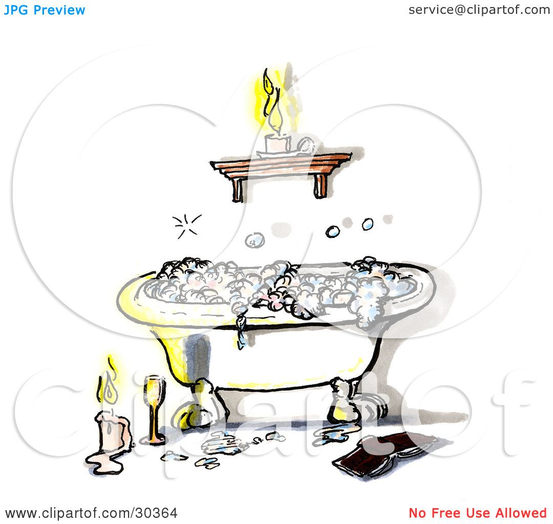Clipart Illustration of a Relaxing Claw Foot Tub With Frothy Bubble ...