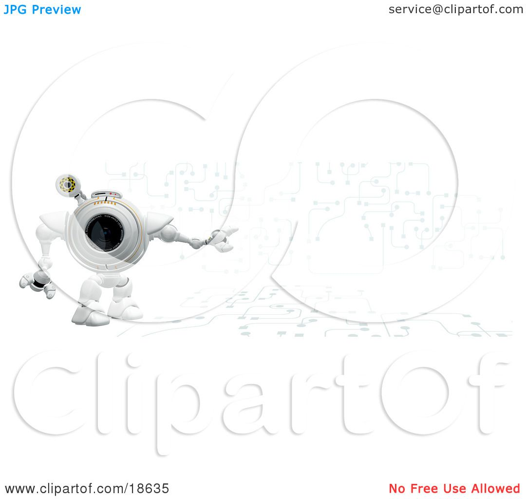 clipart illustration of a robo cam standing against a