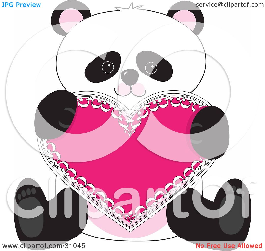clipart illustration of a romantic panda sitting and