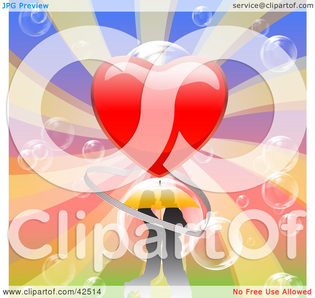 Clipart Illustration Of A Romantic Young Couple Embracing