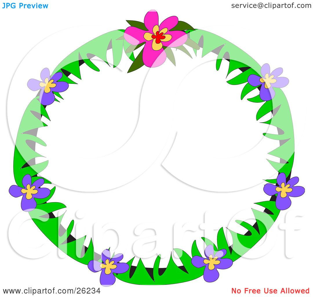 Clipart Illustration of a Round Stationery Border Of Green ...