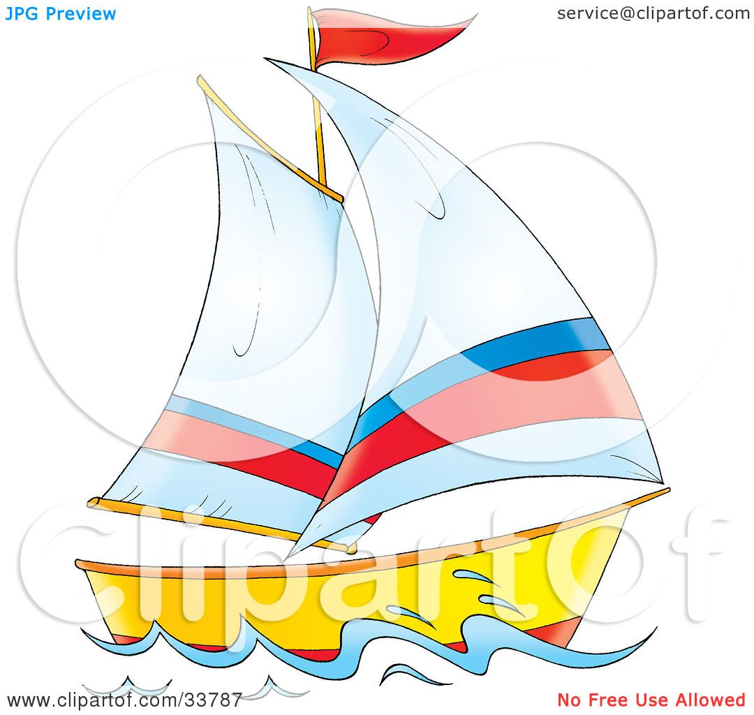 Clipart Illustration of a Sailing Boat With White, Red And Blue ...