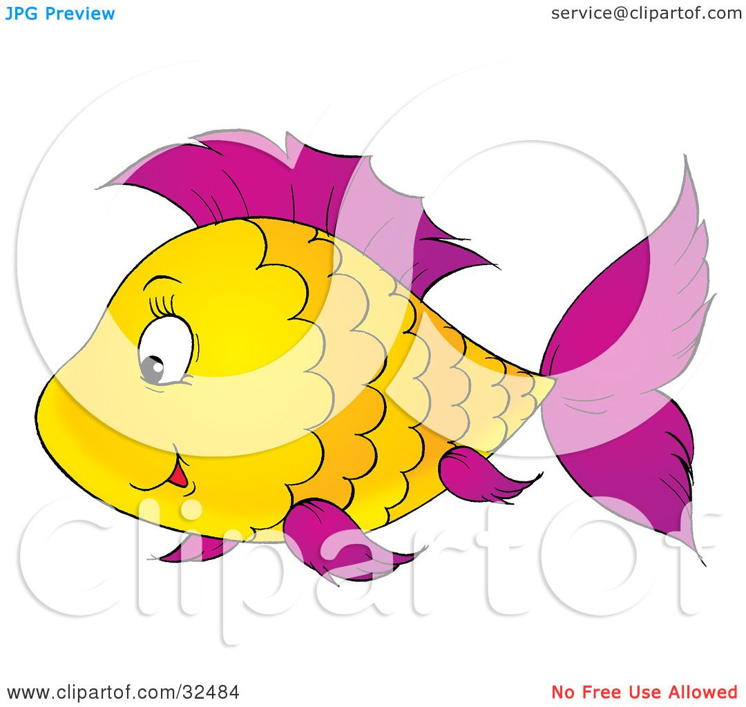 Clipart Illustration of a Scalloped Patterned Yellow Fish With ...