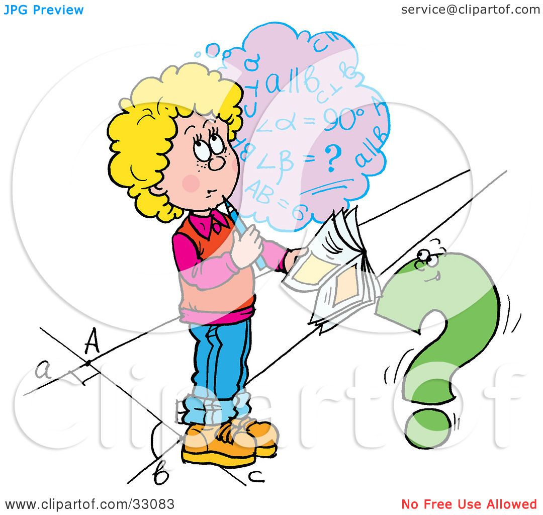 Clipart Illustration of a School Girl Trying To Figure Out A Math ...