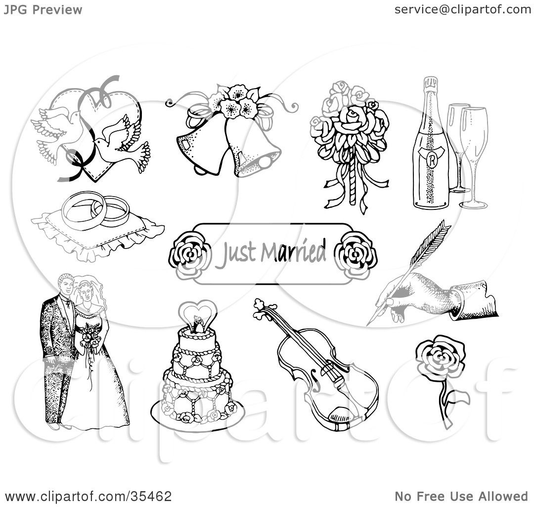 Clipart Illustration Of A Set Doves Wedding Bells Bridal Bouquet Champagne Ring Pillow Just Married Sign Hand Signing Bride And Groom