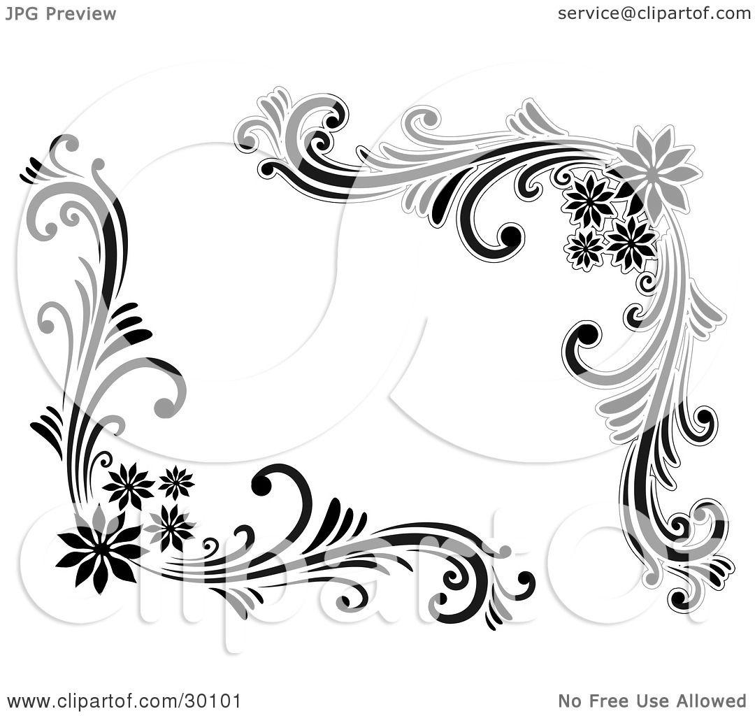 Digital Stamp Design Flourish Rose Border Corner Clip Art: Clipart Illustration Of A Set Of Floral Corner Flourishes