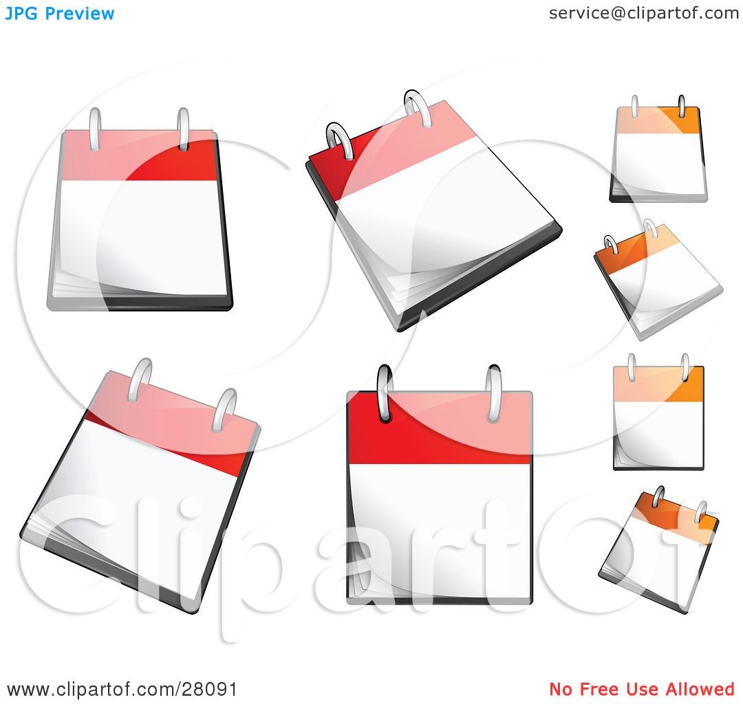 Calendar Page Clip Art : Clipart illustration of a set orange and red flip page