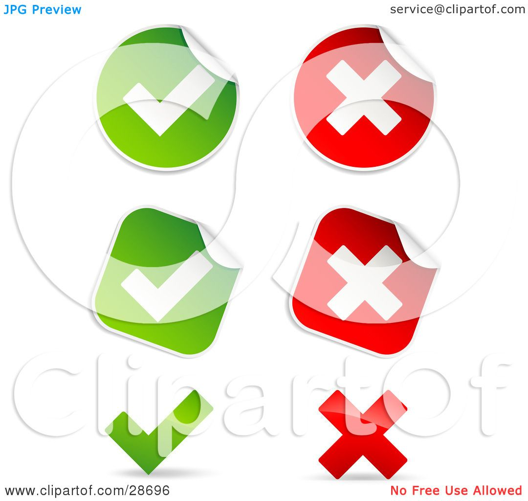 Clipart illustration of a set of peeling square and circle green clipart illustration of a set of peeling square and circle green and red check mark and x mark stickers by beboy buycottarizona