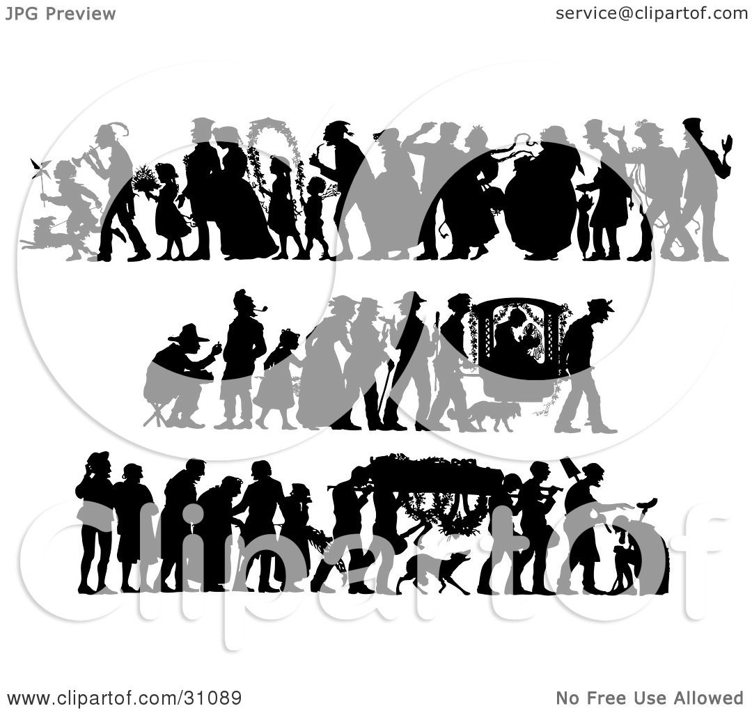 Clipart Illustration Of A Set Of Silhouetted People In