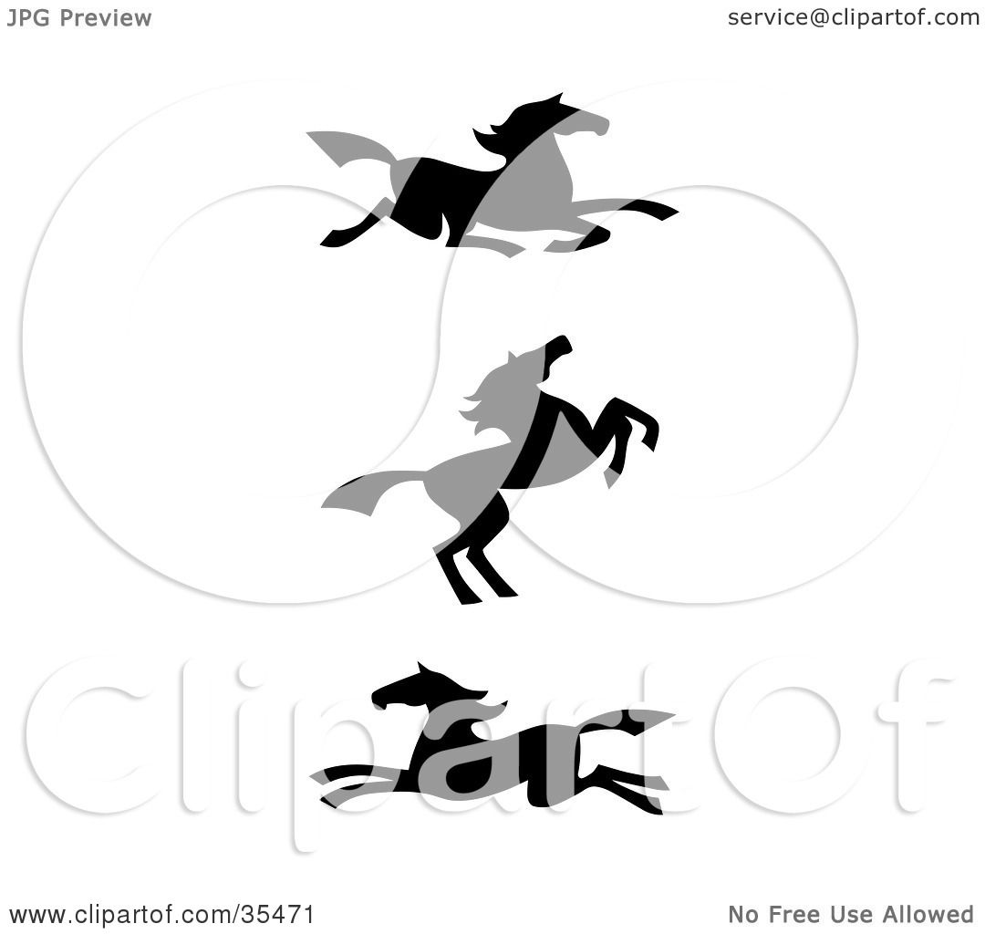 Clipart Illustration Of A Set Three Black Silhouetted Southwestern Styled Horses By C Charley Franzwa