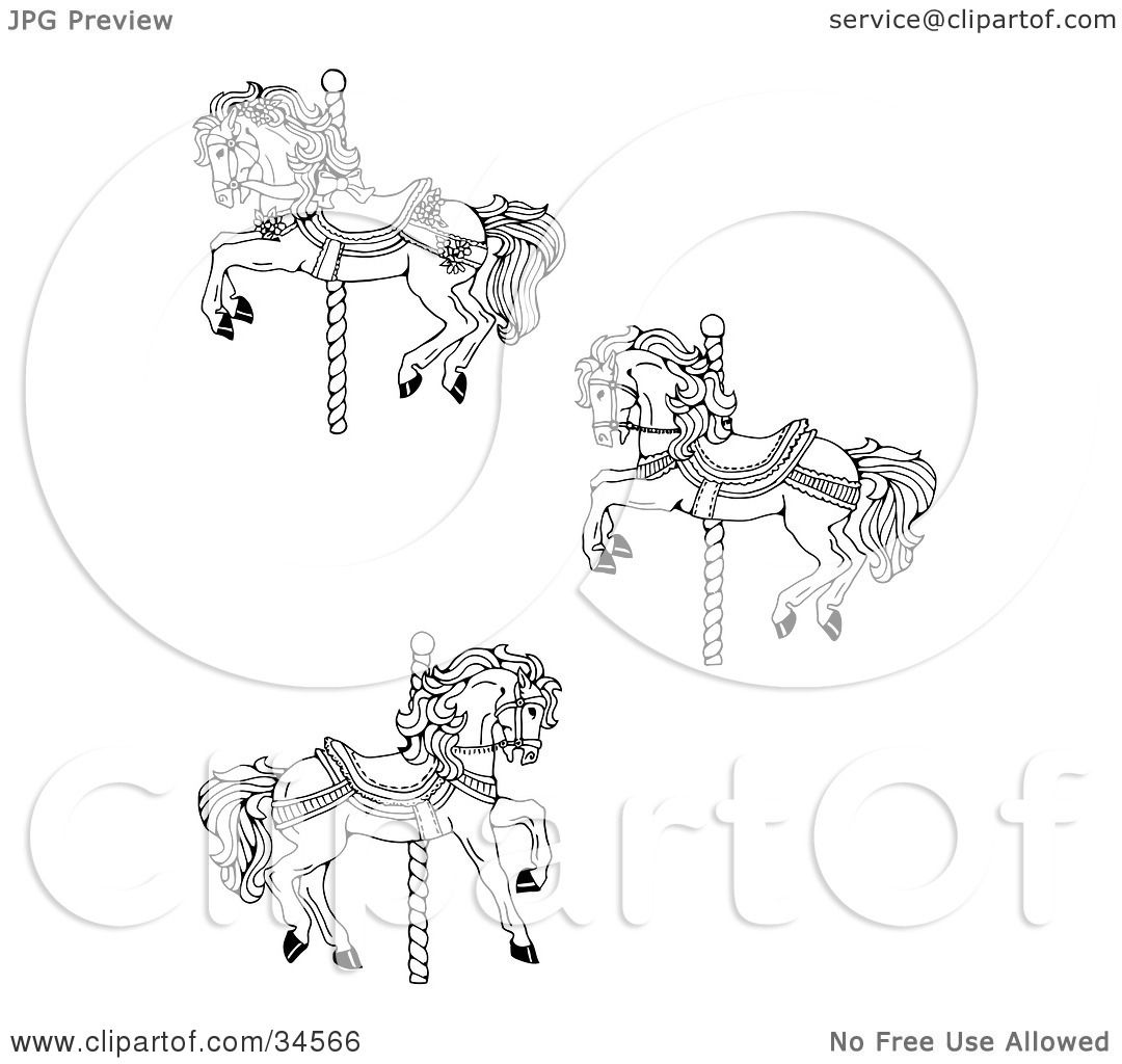 Clipart Illustration Of A Set Three Carousel Horses By C Charley Franzwa
