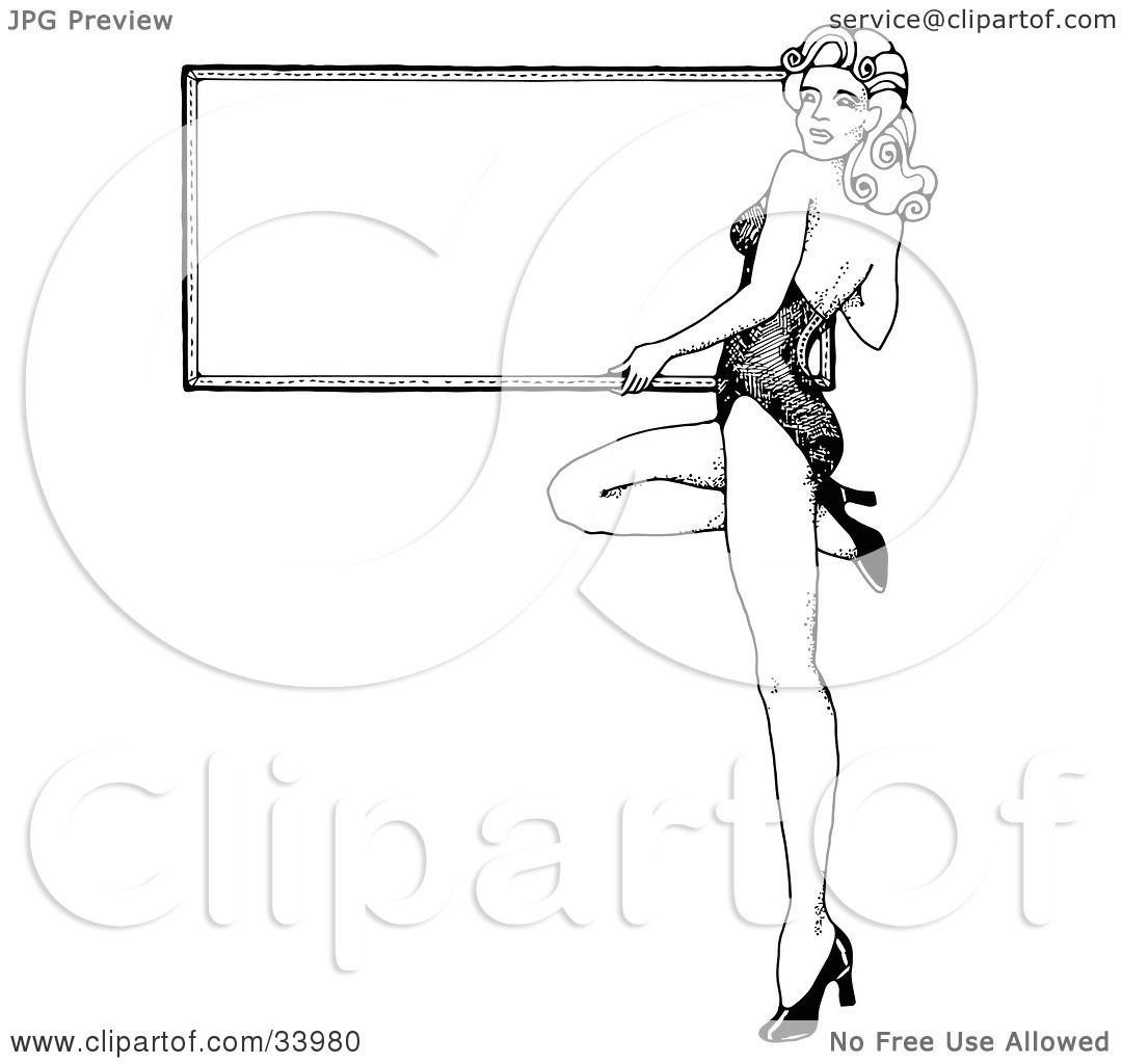 clipart illustration of a sexy 1940 39 s style pinup girl in heels holding a blank white board by. Black Bedroom Furniture Sets. Home Design Ideas