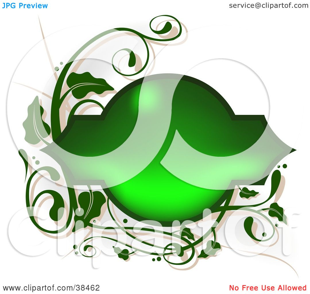 Clipart Illustration of a Shiny Blank Green Text Box Framed