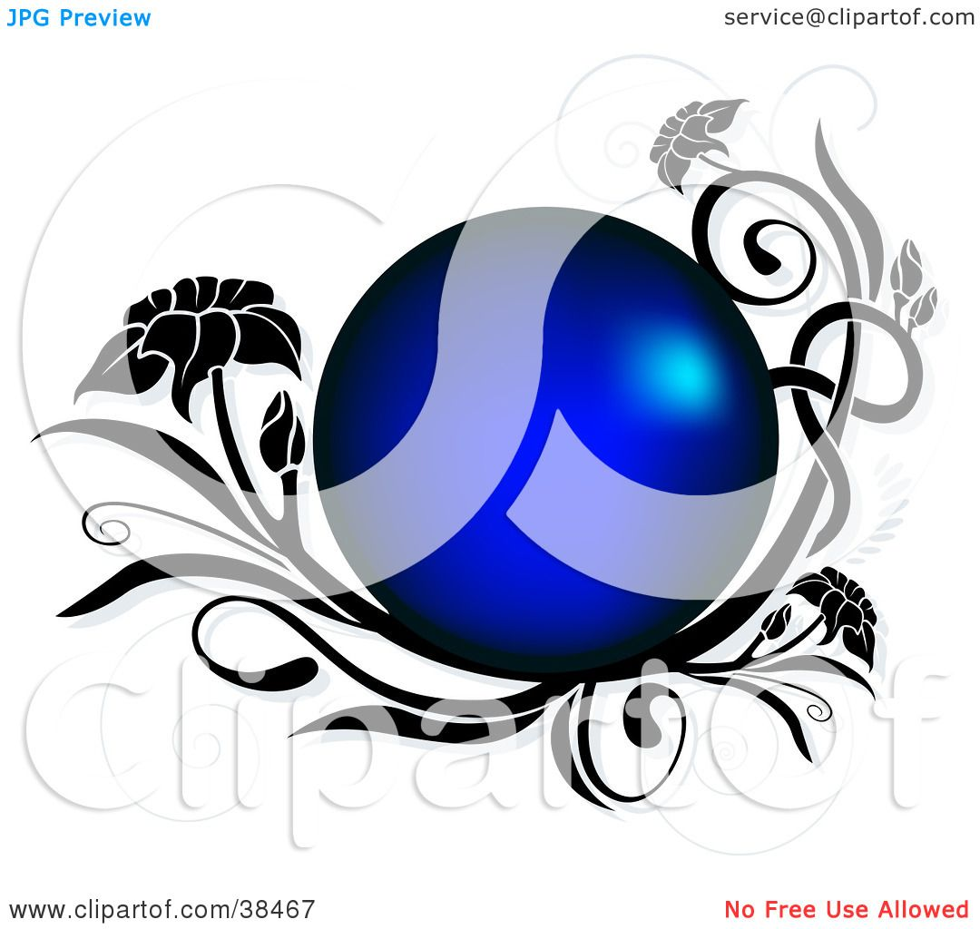 Clipart Illustration of a Shiny Blue Circle Text Box Circled In