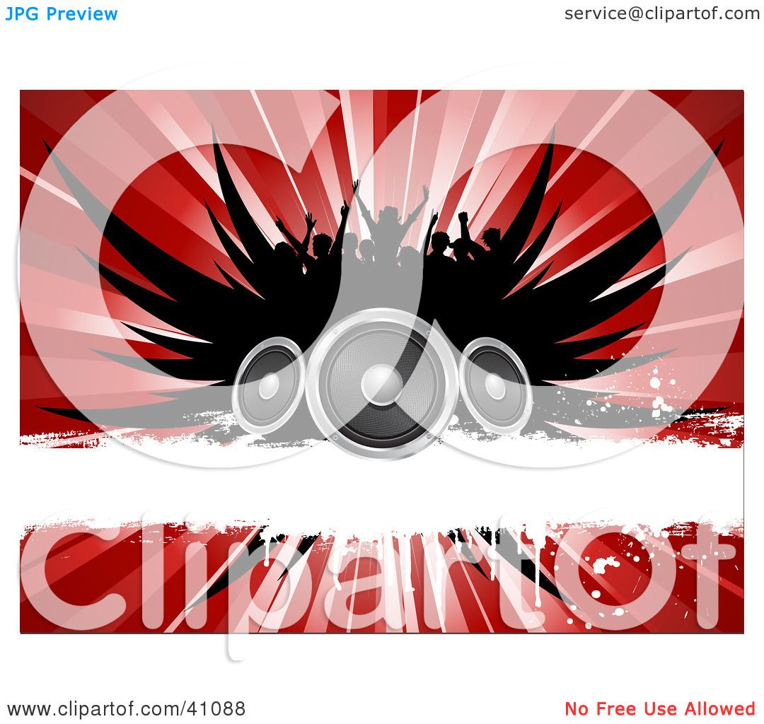 concert speakers clipart. clipart illustration of a silhouetted concert crowd over black wings, speakers, white grunge bar and red burst by kj pargeter speakers k
