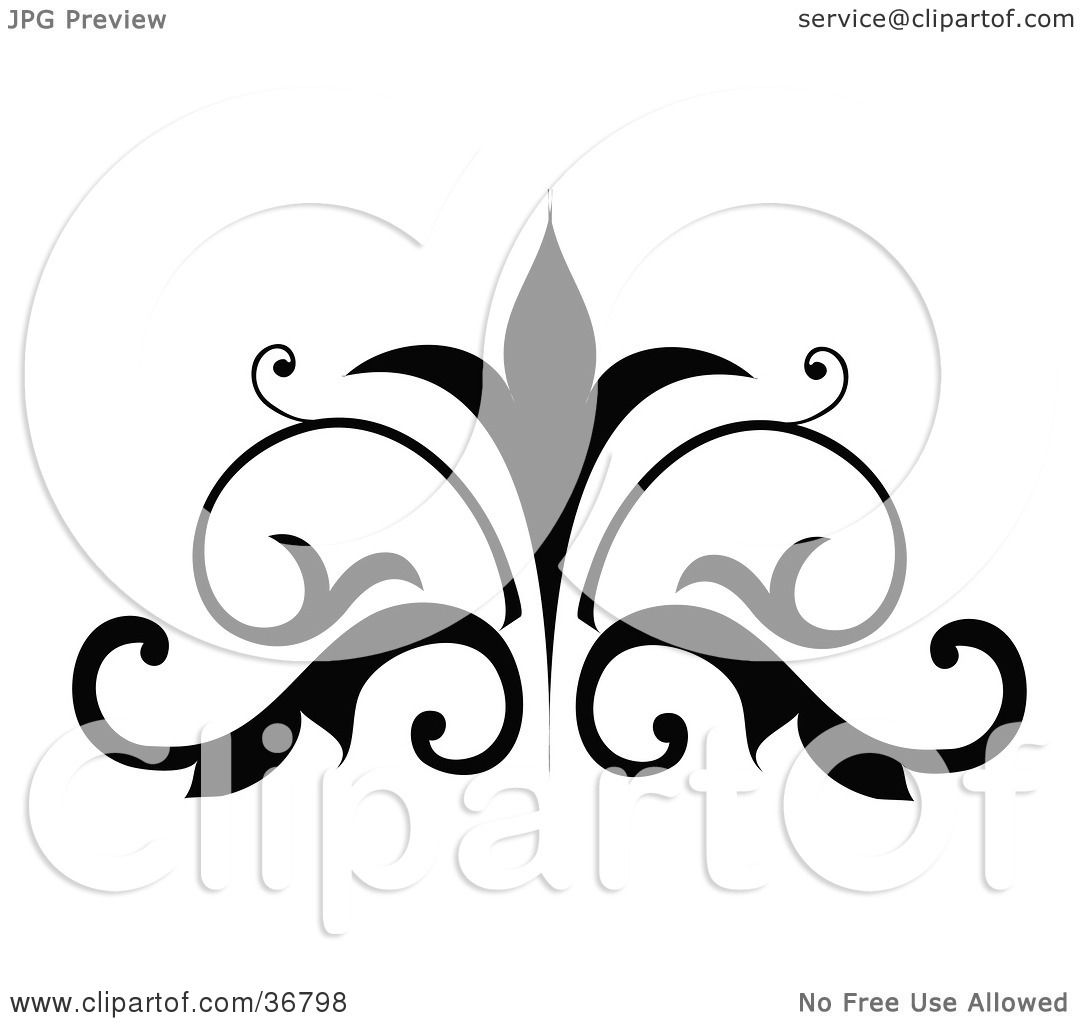 Clipart Illustration of a Silhouetted Embellishment Design by OnFocusMedia 36798