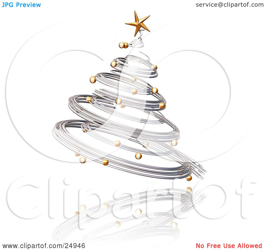 Clipart Illustration of a Silver Spiraled Christmas Tree ...