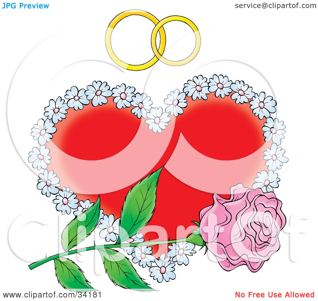 Clipart Illustration of a Single Pink Rose Over A Floral Red Heart ...