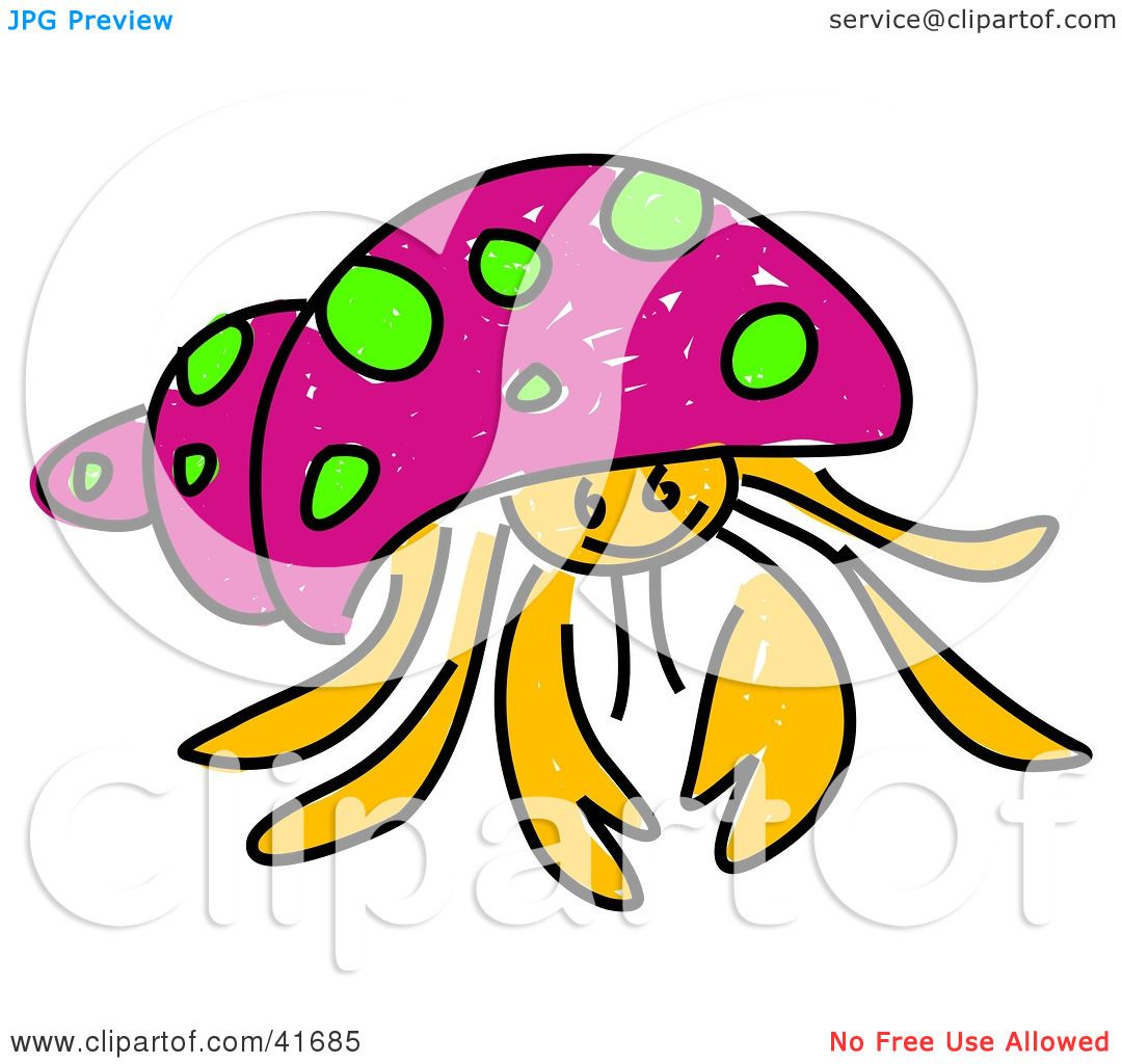 Clipart Illustration of a Sketched Pink Hermit Crab by Prawny #41685