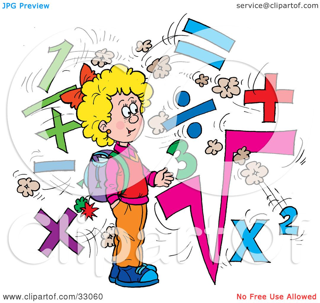 Girl Math Clipart Girl Surrounded by Math